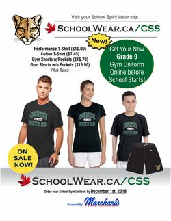 Order your gym uniform-Semester 2 phys ed students